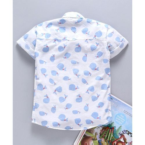 Jash Kids Half Sleeves Shirt Whale Print - Blue