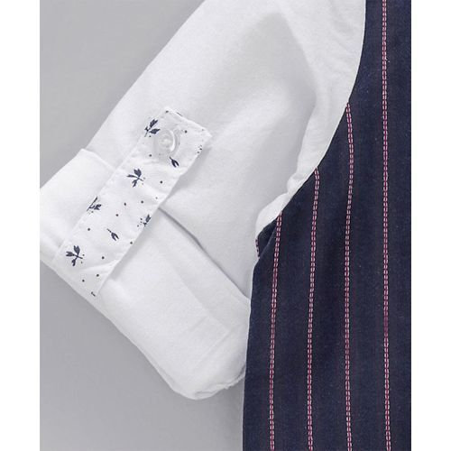 ZY & UP Full Sleeves Shirt With Striped Waistcoat & Bow - White