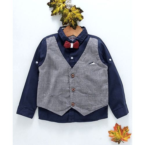 ZY & UP Full Sleeves Shirt With Attached Waistcoat & Bow - Navy