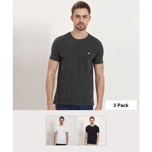 Metronaut Solid Men Round or Crew Multicolor T-Shirt(Pack of 3)