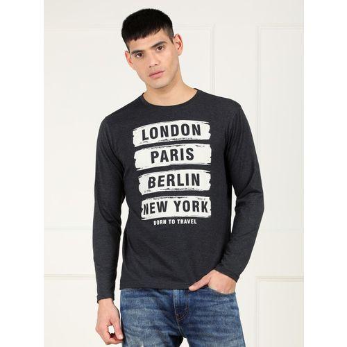 Metronaut Typography, Printed Men Round or Crew Grey T-Shirt