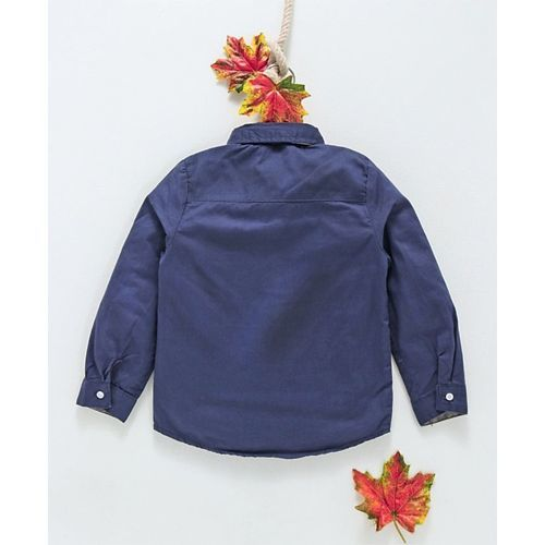 ZY & UP Solid Full Sleeves Shirt With Attached Waistcoat & Bow - Blue