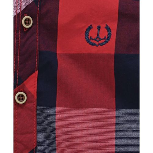 ZY & UP Checks Bow Applique Full Sleeves Shirt - Red & Black
