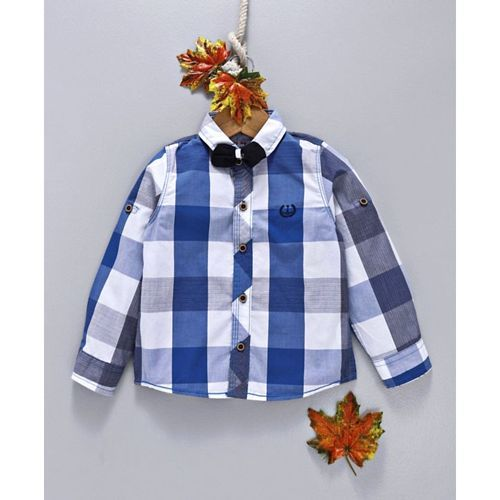 ZY & UP Checks Bow Applique Full Sleeves Shirt - Blue