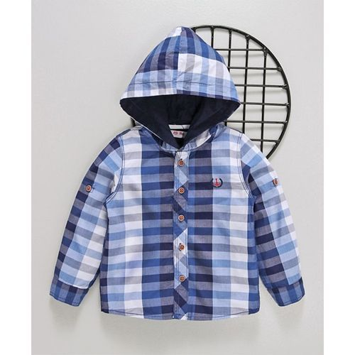 ZY & UP Hooded Striped Full Sleeves Shirt - Blue