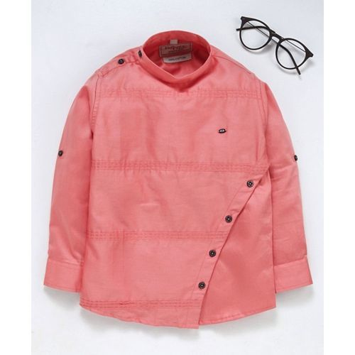 Dapper Dudes Solid Full Sleeves Shirt - Peach