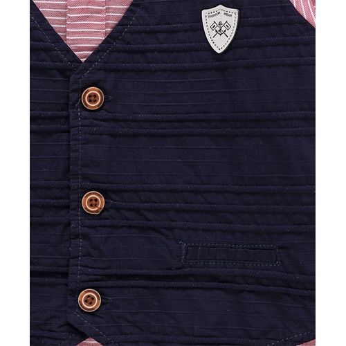 ZY & UP Full Sleeves Striped Shirt With Waistcoat & Detachable Bow - Pink