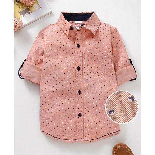 Babyhug Full Sleeve Printed Shirt - Peach