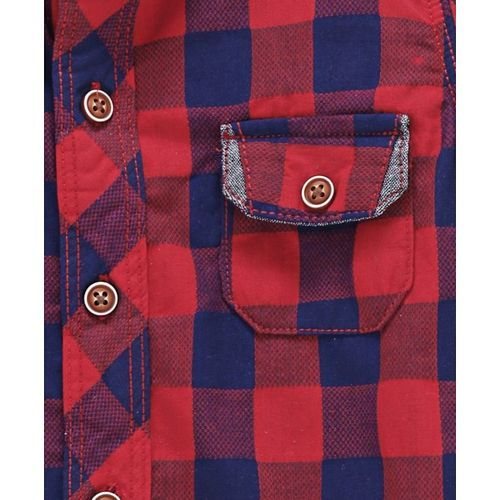 ZY & UP Full Sleeves Checked Shirt - Red