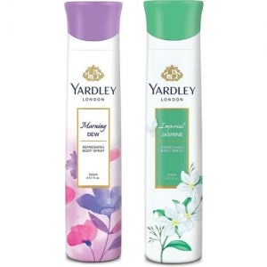 Yardley London Women Morning Dew and Imperial Jasmine 150ML Each (Pack of 2) Deodorant Spray - For Women(300 ml, Pack of 2)