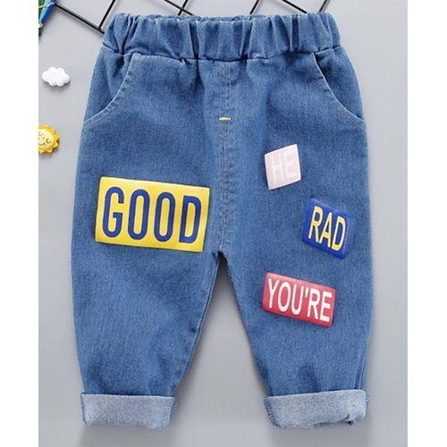 Pre Order - Awabox Letter Printed Full Length Denim Jeans - Dark Blue