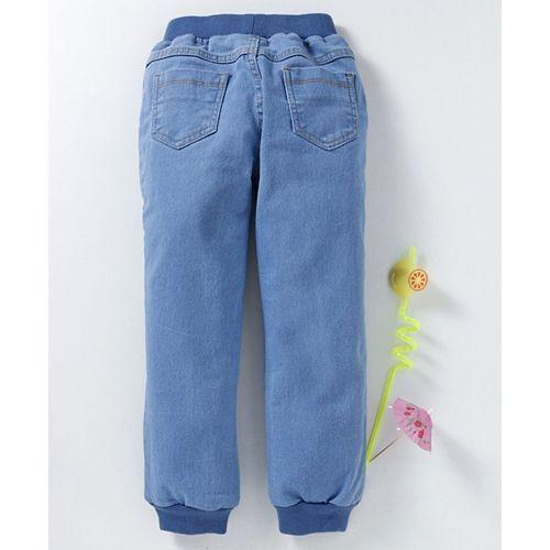 Babyhug Full Length Jogger Jeans With Drawstring - Light Blue