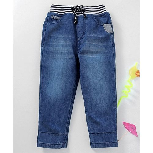 Babyhug Full Length Jeans With Drawstring - Dark Blue
