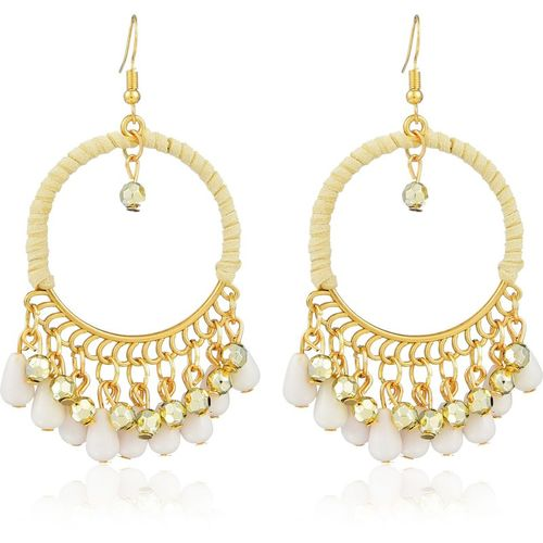 Remanika Ethnic Fusion Leather, Alloy, Resin Chandbali Earring
