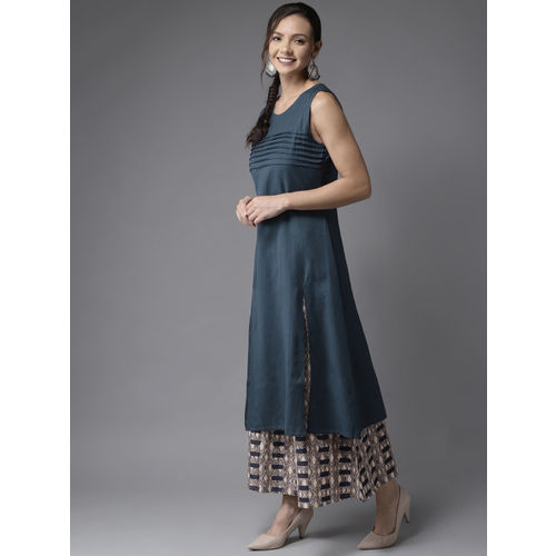 HERE&NOW Women Navy Blue & Beige Solid Kurta with Palazzos
