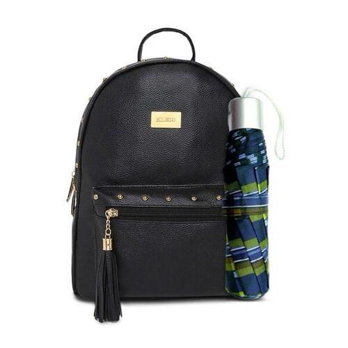 KLEIO Designer Women Black Solid Backpack