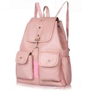 EJIS PU Leather Backpack School Bag Student Backpack Women Travel bag 10 L Backpack(Pink)