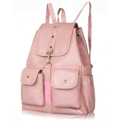 EJIS PU Leather Backpack School Bag Student Backpack Women Travel bag 10 L Backpack(Pink)