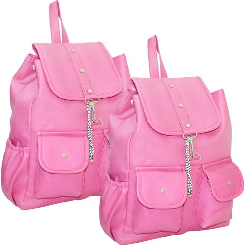 Element Cart Pink PU Leather Backpack