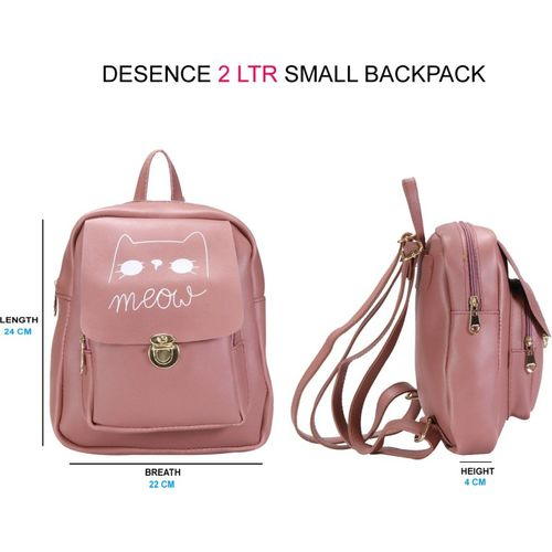 Desence Girls & Kidds Stylish Backpack for College/Travel/Picnic/Tution - Solid (PU) -with Adjustable Strap 2 liters (Pink) 2 L Backpack(Pink)