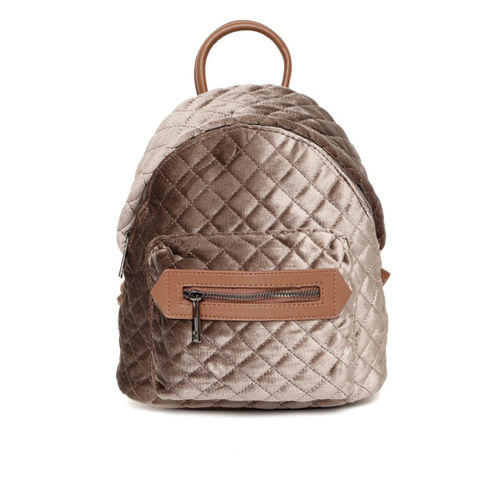DressBerry Women Brown Quilted Backpack