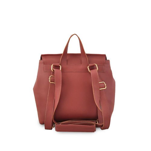 LaFille Women Brown Solid Backpack & Wallet with Coin Pouch