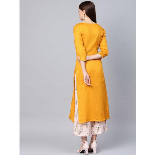 La Firangi Women Mustard Yellow & Pink Solid Kurta with Palazzos
