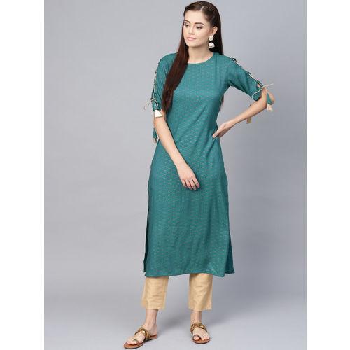 La Firangi Women Teal Green & Golden Printed Straight Kurta