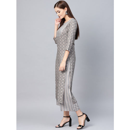La Firangi Women Grey & Black Printed Kurta with Palazzos