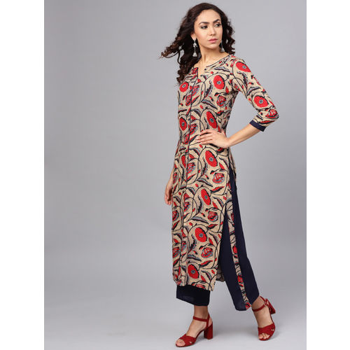 La Firangi Women Beige & Navy Blue Printed Kurta with Trousers