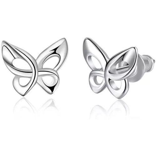 MYKI Trendy Butterfly Silver Plated Stud Earring For Women & Girls Stainless Steel Stud Earring