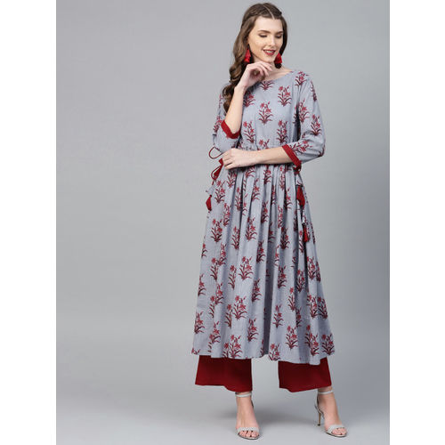 La Firangi Women Grey & Maroon Printed Kurta with Palazzos