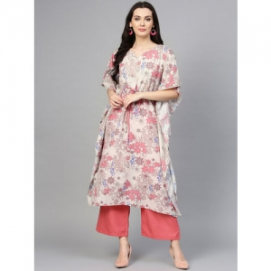 La Firangi Women Off-White & Coral Pink Printed Kurta with Palazzos