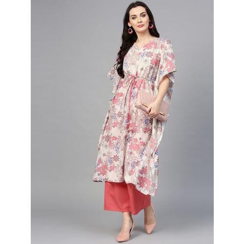 La Firangi Women Off-White & Coral Pink Printed Kurta with Palazzos
