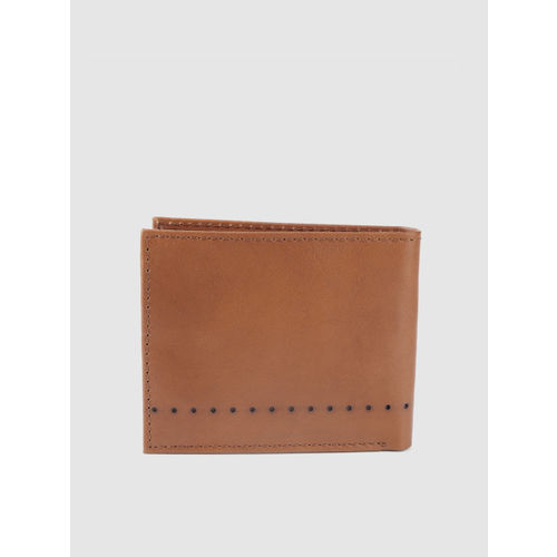 Being Human Men Tan Brown Solid Leather Two Fold Wallet