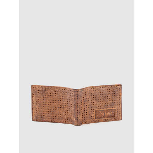 Being Human Men Brown Perforated Leather Two Fold Wallet