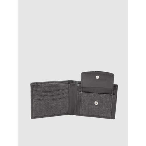Being Human Men Charcoal Grey Solid Denim Two Fold Wallet