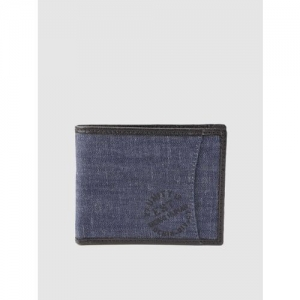 Being Human Men Navy Blue Solid Denim Two Fold Wallet