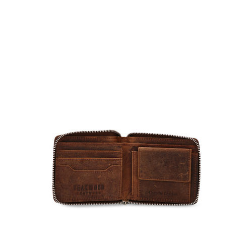 Teakwood Leathers Men Brown Textured Zip Around Wallet