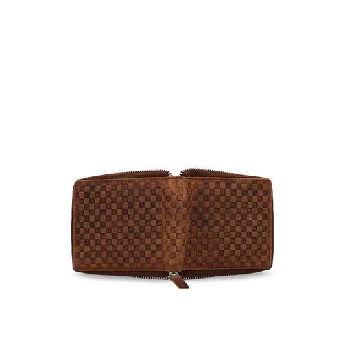 Teakwood Leathers Men Brown Textured Zip Around Wallet