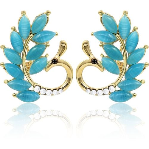 Nakabh New Elegant Peacock Statement Collection Metal Stud Earring