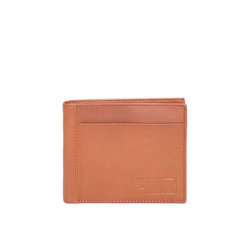 Woodland Men Tan Brown Solid Two Fold Leather Wallet