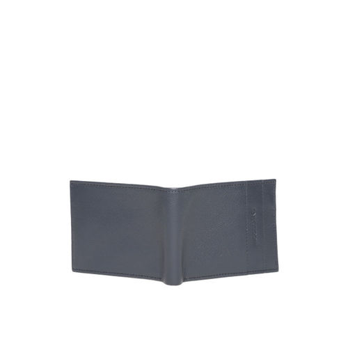 Woodland Men Navy Blue Solid Leather Two Fold Wallet