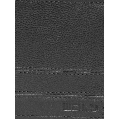 Woodland Men Black Solid Two Fold Leather Wallet