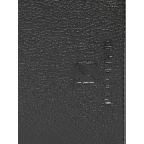 Woodland Men Black & Grey Solid Two Leather Fold Wallet