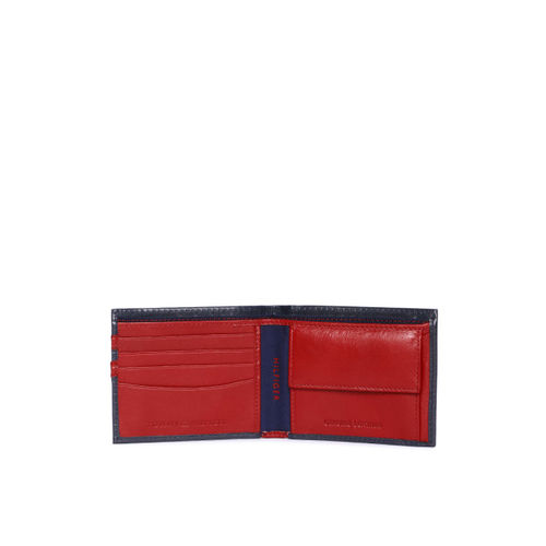 Tommy Hilfiger Men Navy Blue & Red Solid Two Fold Wallet