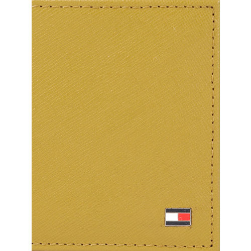 Tommy Hilfiger Men Yellow Genuine Leather Solid Two Fold Wallet