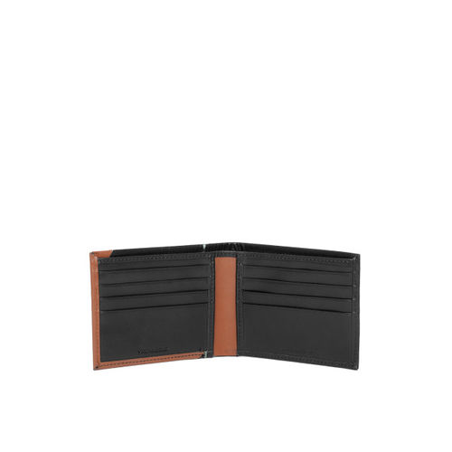 Woodland Men Black & Brown Colourblocked Two Fold Leather Wallet