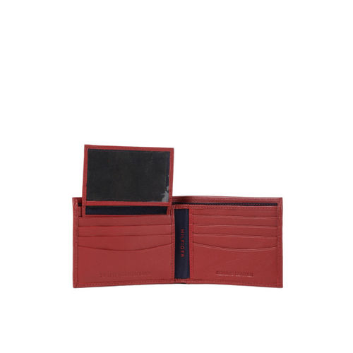 Tommy Hilfiger Men Red Textured Genuine Leather Two Fold Wallet
