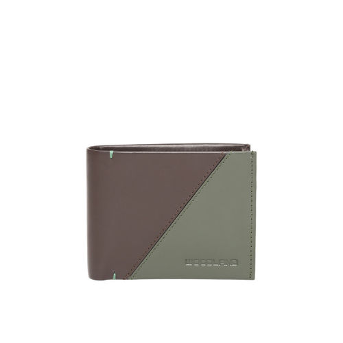 Woodland Men Coffee Brown & Olive Green Colourblocked Two Fold Leather Wallet